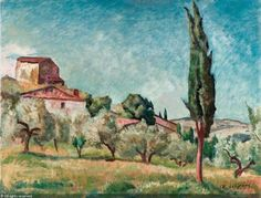 DE GRADA Raffaele, 1885-1957 (Italy)  Title : Paesaggio toscano  Date : 1950     Category : Paintings  Medium :   : oil on canvas    : olio su tela