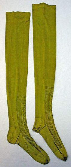 Stockings Date: 19th century Culture: French Medium: silk These were donated to the museum in 1937.  From their similarity to other  Edwardian stockings, I'm assuming that is what era they are from.