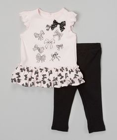 Baby Headquarters Pink & Black Ruffle Bow Dress & Leggings - Infant by Baby Headquarters #zulily #zulilyfinds