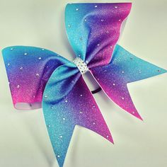 Glitter ombre bow with rhinestones. – BRAGABIT