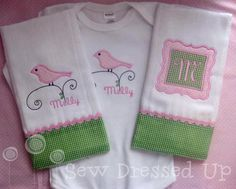 Monogrammed  Baby Girl Gift Set - 2 Burp Cloths and a Bodysuit -Embroidered Personalized Custom