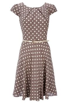 Taupe Spot Print Belted Dress  I am in love with this dress!