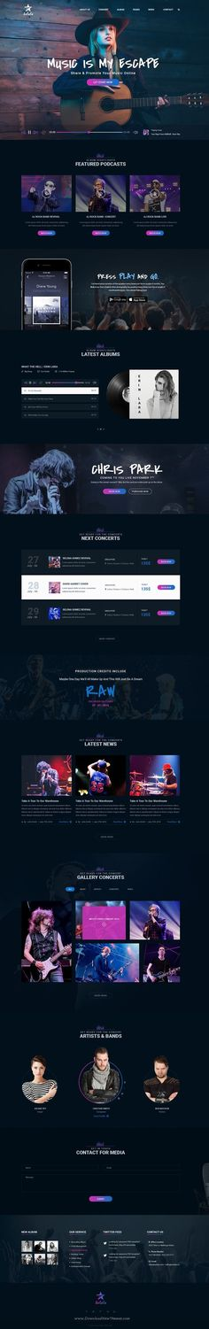 Solala is modern & slick style multipurpose #PSD #template for #Music, Artist, Bands & Entertainment website. Download Now!