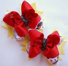 boutique MICKEY and MINNIE set of 2 hair bow clips by andjane