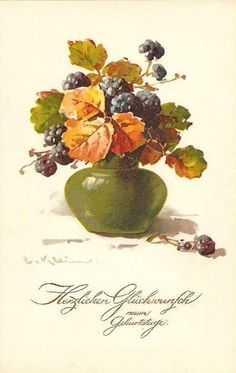 Catherine Klein, Vintage Prints, Vintage Floral, Paintings I Love, Vintage Paintings, Fruit Art, Vintage Pictures, Watercolor And Ink, Vintage Postcards