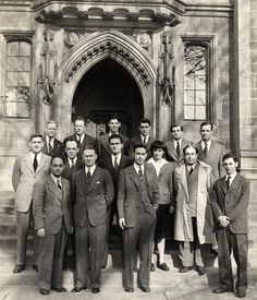 Photo of the Atomic Scientists who conducted the first self-sustaining nuclear reaction. The reaction was conducted at the University of Chicago on December 2, 1942.  Credit: Archival Photographic Files, apf3-00232, Special Collections Research Center, University of Chicago Library