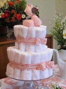bolo fraldas tecido rosa