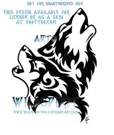 Howling Tribal Wolf Pair by WildSpiritWolf.deviantart.com on @deviantART