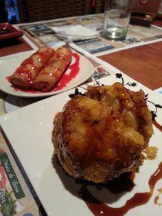 sorvete frito e harumaki de choc branco c/ morango - sushiky - maringá