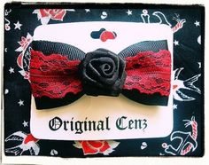 Lolita Black Rose Burgundy Lace Hair Bow