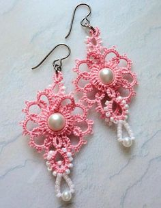 Pink tatted earrings