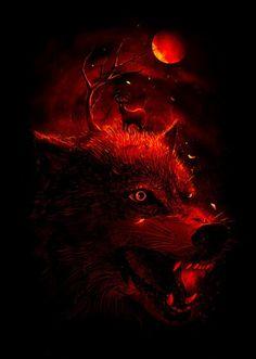 Red Dream Art Print by nicebleed Wolf Artwork, Werewolf Art, Wolf Spirit Animal, Wolf Wallpaper, Wolf Pictures, Dream Art, Anime Wolf, Surreal Art, Dark Art