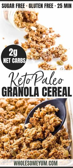 Keto Paleo Low Carb Granola Cereal Recipe - Sugar Free - This paleo low carb granola recipe takes just 10 minutes of prep for a big batch. It's super easy and stores well in the pantry. Enjoy this crunchy sugar-free keto cereal with almond milk! Low Carb Cereal, Keto Cereal, Sugar Free Cereal, Healthy Cereal, Low Carb Granola, Sugar Free Granola, Low Carb Oatmeal, Desserts Keto, Keto Snacks