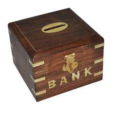 Wooden Handmade Piggy Bank Money Box