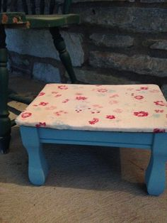 Painted in Annie Slaon Provence Blue and upholstered in a vintage tea stained fabric