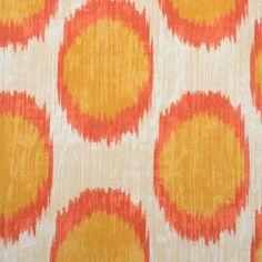 Papaya Orange Ikat Polka Dot Fabric from DuraleeFinds