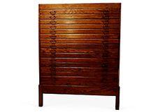 1930s Oak Map Cabinet