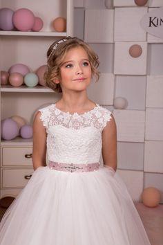 Lace Ivory White Flower Girl Dress Holiday Wedding Birthday
