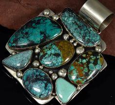 Huge-Vintage-Old-Pawn-Navajo-Multi-Turquoise-Gemstone-Sterling-Silver-Pendant