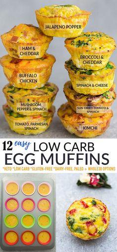 Healthy Make Ahead Breakfast, Healthy Breakfast Muffins, Best Breakfast Recipes, Breakfast Snacks, Brunch Recipes, Healthy Low Carb Breakfast, Low Carb Egg Muffins, Low Carb Recipes, Whole30 Recipes