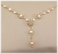 Gold Rhinestone and Pearl Bridal Necklace