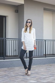 Skinny Buddha buttoned embroidered white blouse
