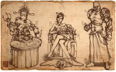 Character design of a underground boss boss, her burly bouncer, and a clockwork robot tasked with hosting a game of dice, by steampunk concept artist James Ng. Anna Cattish, Character Concept, Character Design, Design Steampunk, Girls Manga, Logo Gallery, Alternate History, Fantasy, Picture Design