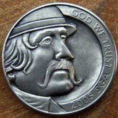 STEVE ADAMS HOBO NICKEL - WYATT - 2005 JEFFERSON NICKEL Steve Adams, Italy Pictures, Hobo Nickel, Coin Art, Art Forms, Sculpture Art, Coins, Miniatures, Carving