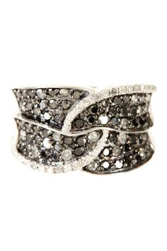 Pave Black & White Diamond Interlocking Ring - 1.00 ctw