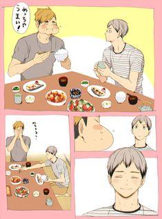 Atsumu's soooo cute and Kita's fatherly smile Haikyuu Funny, Haikyuu Manga, Haikyuu Fanart, Haikyuu Ships, Kenma, Kagehina, Miya Atsumu, Anime Guys Shirtless, Haikyuu Volleyball