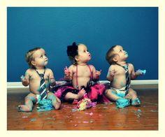 Triplets smash the cake photo shoot <3 mommies life!!!