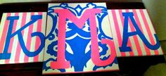 Monogram letters! love these. Easy. Modge pudge fabric on canvas, and paint letters over top.