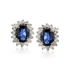 Ross-Simons - 2.00 ct. t.w. Sapphire and .50 ct. t.w. Diamond Earrings in 14kt White Gold - #773782
