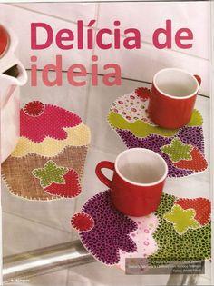Moldes Para Artesanato em Tecido: Cupcake com Molde patchwork apliques