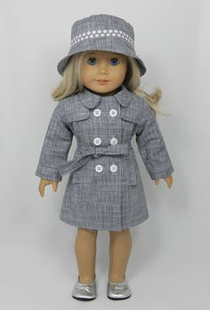 American Girl Doll raincoat trenchcoat and by dollpetitecouture