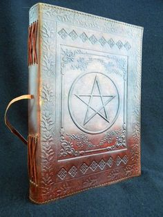 Large PENTACLE Handmade Leather Journal Diary  Pagan by DiaryShop