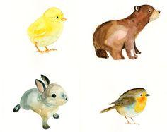 Watercolor animal portraits- so cute for nursery or playroom.