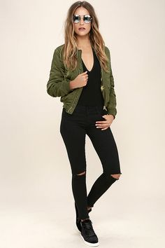 2c73dfcdf5f The night is yours in the Young and Free Olive Green Bomber Jacket! Woven  poly