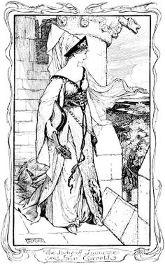 Henry Justice Ford - The Lady of Lyonesse Sees Sir Gareth - The Book of Romance -  1902