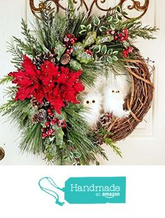 Handmade Christmas Iced Grapevine Owl Evergreen Wreath - Snow Owl Grapevine Wreath - Iced Pine Cedar Poinsettia Door Decor - Snow Owl Poinsettia Door from Pleasant Expressions https://smile.amazon.com/dp/B01M0TRCR4/ref=hnd_sw_r_pi_dp_aSadyb3SASV61 #handmadeatamazon