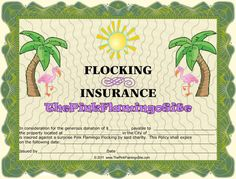 """The Pink Flamingo Site - Fundraisers. Has """"insurance"""" policy, ransom notes"""