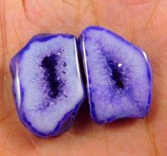 40 Cts. NATURAL DYED PURPLE DRUZY GEODE AGATE SLICE LOT CABOCHON GEMSTONES(NB917 #NagmaGems
