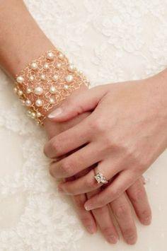 wedding bracelet gold swarovski ivory pearl wide gold cuff