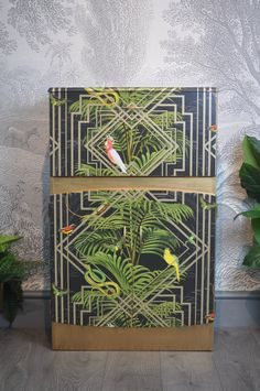 Your place to buy and sell all things handmade : Upcycled Vintage Mid Century Art Deco Cocktail Cabinet, Tropical Congo Decoupage, Home Bar, Drinks Cabinet by ThriftysRetro on Etsy Art Deco Furniture, Painted Furniture, Refurbished Furniture, Bar Furniture, Interiores Art Deco, Muebles Art Deco, Art Deco Bar, Drinks Cabinet, Bar Interior