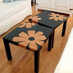 DIY bamboo veneer flowers for the Ikea Lack. (via craftnest)