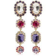Dolce & Gabbana Women Crystal Drops Clip-on Earrings (7 275 ZAR) ❤ liked on Polyvore featuring jewelry, earrings, multicolor, multi colored earrings, gold tone earrings, colorful jewelry, clip back earrings and crystal clip on earrings