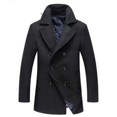 f091c34361ab Winter New Style Men s Fashion Woolen Coat Thick Trench Coat Jackets Men s  Casual Windbreaker Woolen Coats Men Overcoat