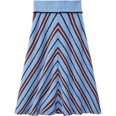 Miu Miu Cielo Blue Striped Skirt (€1.000) ❤ liked on Polyvore featuring skirts, cielo, midi skirt, blue striped skirt, blue skirts, blue wool skirt and wool skirt
