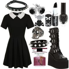 Gothic Wednesday Addams, simplistic, bu i love it. should be reasonably cheap to acquire. i have boots, black nail polish/lipstic, earrings, and such, just the dress.. but its a nice way to put together an outfit.