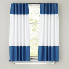The Land of Nod | Kids Curtains: Blue and White Curtain Panels in Curtains & Hardwares